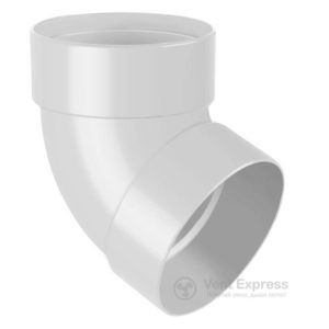 Отвод трубы RainWay двухмуфтовый 67° 130 мм, белый