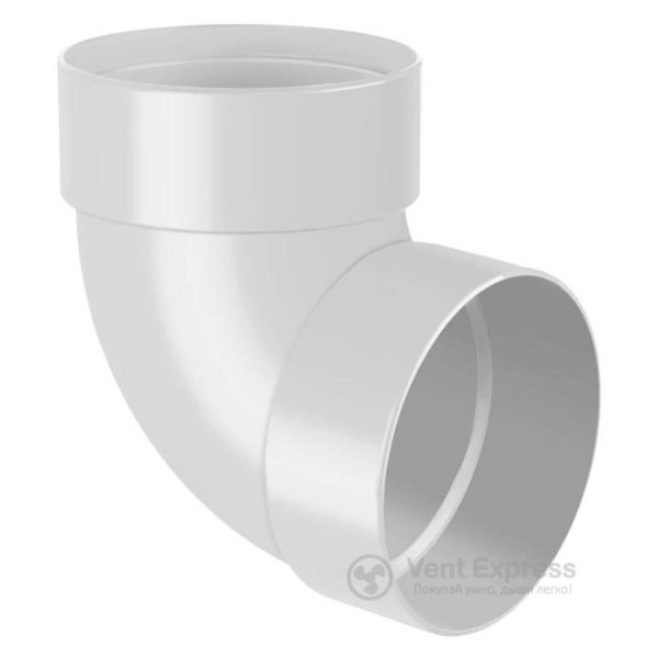 Отвод трубы RainWay двухмуфтовый 87° 130 мм, белый
