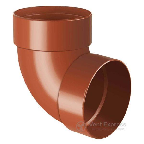 Отвод трубы RainWay двухмуфтовый 87° 90 мм, кирпичный