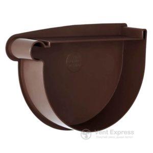 Заглушка воронки RainWay левая 130 мм, коричневая