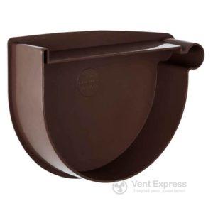 Заглушка воронки RainWay правая 90 мм, коричневая