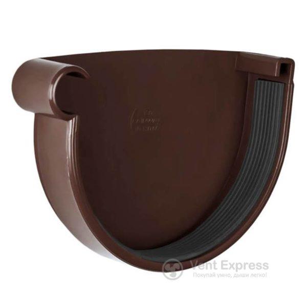 Заглушка желоба RainWay левая 130 мм, коричневая