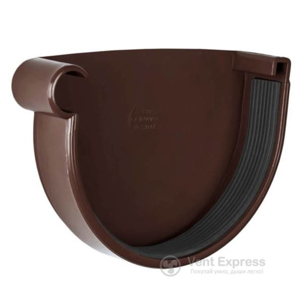 Заглушка желоба RainWay левая 90 мм, коричневая