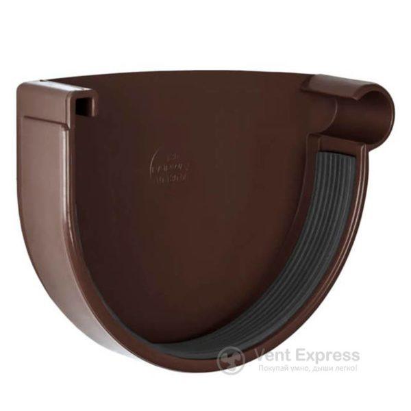 Заглушка желоба RainWay правая 130 мм, коричневая